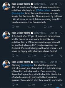 करन जौहर और नेपोटिज्म के सपोर्ट में आए राम गोपाल वर्मा Ram Gopal Varma came in support of Karan Johar and nepotism